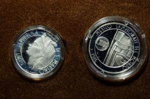 obverse: San Marino. Nuova monetazione. Dittico 1986. Ag. Mondiali di Calcio Messico. In confezione Originale. FDC