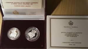 obverse: San Marino. Dittico 1991  XXV Olimpiade : 1 000 lire e 500 lire. Fondo specchio. AG