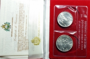 obverse: San Marino. Dittico 1992 a Corso legale in argento. XXV Olimpiade. In confezione originale. FDC.