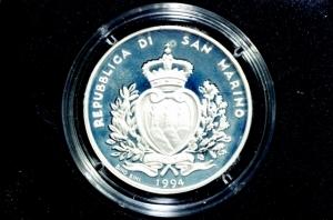obverse: San Marino. 1000 Lire 1994. Ag. Olimpiadi Invernali di Lillehammer. Proof.