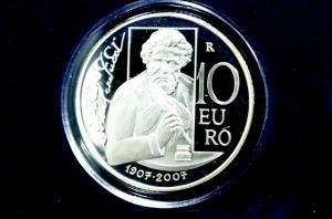 obverse: San Marino. 10 euro 2007. Ag. Giosuè Carducci. Proof.