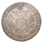R/ Estere - Austria. 10 Kreuzer 1870. Ag. qSPL. Patina