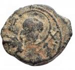 D/ Crociati -Antiochia.Tancredi (1104-1112).AE primo tipo.D/ Busto di San Pietro.R/ Legenda su 5 righe.Metcalf 49.gr. 3,42.qBB. Patina verde