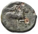 reverse: Mondo Greco - Sicilia. Siracusa. Agatocle. 305-295 a.C. AE. D/ Testa di Athena a destra. R/ Cavaliere su cavallo al galoppo a destra. Peso gr. 3,79. Diametro mm 16,76. BB+.