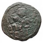 obverse: Varie -Monetazione Bizantina utilizzata dai primi Normanni.Follis ribattuto da identificare.AE.g 5,88.mm 28,6