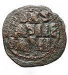 reverse: Varie -Monetazione Bizantina utilizzata dai primi Normanni.Follis ribattuto da identificare.AE.g 5,88.mm 28,6