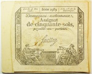 obverse: Cartamoneta.Francia.Assignat de cinquante sols lui du 23 mai1793.Buona Conservazione .S.v.