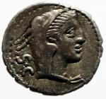 obverse: Repubblica Romana. Gens Procilia. Lucius Procilius. 80 a.C. Denario. Ag. D/ S.C. (Senatus Consulto). Testa di Giunone Sospita a destra. R/ L.PROCILI F. (Lucius Procilius, filius), Giunone Sospita su biga verso destra, regge lancia e scudo, ai piedi dei cavalli un dragone. Cr. 379/2. Peso 3,78 gr. Diametro 19,00 mm. BB+.^^