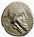obverse: Repubblica Romana. Gens Titia. Quintus Titius. 90 a.C. Denario. Ag. D/ Testa di Bacco verso destra. R/ Q.TITI (Quintus Titius) Pegaso in volo verso destra. Cr.341/2. Peso 3,93 gr. Diametro 17,69 mm. BB+.