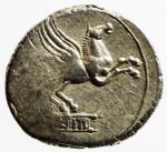 reverse: Repubblica Romana. Gens Titia. Quintus Titius. 90 a.C. Denario. Ag. D/ Testa di Bacco verso destra. R/ Q.TITI (Quintus Titius) Pegaso in volo verso destra. Cr.341/2. Peso 3,93 gr. Diametro 17,69 mm. BB+.
