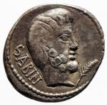 D/ Repubblica Romana. Gens Tituria. L. Titurius L.f. Sabinus. ca. 89 a.C.Denario Suberato. Ag-Ae. D/ SABIN. Testa del re Tatius a destra; sotto il mento ramo di palma. R/ Tarpeia al centro tra due soldati che stanno per ucciderla; in esergo, L·TITVRI. Cr. 344/2b. B. Tituria 4. Syd. 699. Peso gr. 3,65. Diametro mm. 19.00. BB.^^