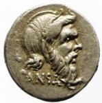 obverse: Repubblica Romana. Gens Vibia. Caius Vibius Pansa Caetronianus. 48 a.C. Denario. Ag. D/ PANSA Maschera di Pan verso destra. R/ IOVIS AXVR C VIBIVS C F C N (Jovis Axuris Caius Vibius Caii filius Caii nepos). Giove Axur seduto verso sinistra regge una patera ed una lancia. Cr. 449/1a. Peso 4,05 gr. Diametro 18,50 mm.BB+. Metallo lucente. ex Monetae. NC.