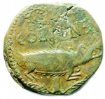 reverse: Impero Romano. Augusto. 27 a.C. 14 d.C. Asse. Ae. D\ IMP P P DIVI F Teste di Augusto ed Agrippa. R\ COL NEMC Palma e coccodrillo. Zecca di Nemausus. RPC I n.168. Peso 13,00 gr. Diametro 26,68 mm. BB+. Patina Verde. R.