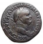 D/ Impero Romano - Vespasiano. 69-79 d.C. Sesterzio. Ae. 71 d.C. D/ IMP CAES VESPASIAN AVG P M TR P P P COS III Testa laureata a destra. R/ IVDAEA - CAPTA Albero di palma; a sinistra Vespasiano stante volto a destra tiene lancia e parazonium; a destra la Giudea dolorante; in ex. S C. Peso gr. 23,3. Diametro mm. 34,1. BB+. R.