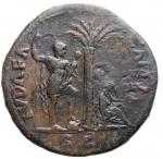 R/ Impero Romano - Vespasiano. 69-79 d.C. Sesterzio. Ae. 71 d.C. D/ IMP CAES VESPASIAN AVG P M TR P P P COS III Testa laureata a destra. R/ IVDAEA - CAPTA Albero di palma; a sinistra Vespasiano stante volto a destra tiene lancia e parazonium; a destra la Giudea dolorante; in ex. S C. Peso gr. 23,3. Diametro mm. 34,1. BB+. R.