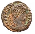 D/ Impero Romano - Costanzo II. 337-361 d.C.:D\ CONSTANTIVS P F AVG Testa diademata verso destra. R\ VICTORIAE DD AVGGQ NN due vittorie stante di fronte tendono due ghirlande, nel centro ramo di palma, in esergo A SIS. RIC 194. Peso 1,07 gr. Diametro 15,7 mm.SPL.BB++.
