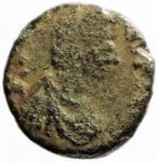 D/ Impero Romano. Onorio? 410-423 d.C.Roma. D\ DN HONORI-VS P F AVG, Busto a destra. R/ VICTORI-A AVGG, RM in esergo. Peso 1,10 gr. MB+.