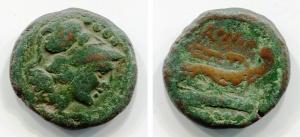 D/ Anonymous (157-156 a.C.), Roma. AE Triens (21 mm. - 5,01 gr.). D.\: testa elmata di Minerva a destra, 4 pallini sopra. R.\: ROMA, prua di galea a detsra, quattro pallini sotto. Crawford 198b/3; Sydenham 302b. qBB. Raro.