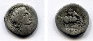 D/ gens CREPUSIA (82 a.C.). AR Denarius (3,32 gr.). R.\: P CREPVSI. Alfa 707. MB.