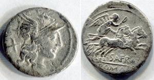 D/ gens AFRANIA (150 a.C.), Roma. AR Denarius (3,38 gr - 19 mm.). R.\: SAFRA - ROMA in ex.; Craw 206. MB. NC.