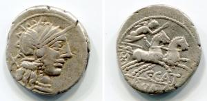 D/ gens PORCIA (123 a.C.), C. Porcius Cato. Roma. AR Denarius (3,92 gr. - 19 mm.). D.\: testa di Roma elmata a destra, dietro X. R.\: C CATO, ROMA in esego, Roma su biga verso destra. Crawford 274/1; Porcia 1; Sydenham 417; Catalli 372. qBB. NC.
