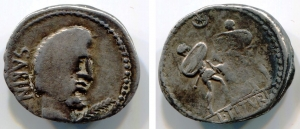 D/ Gens TITURIA (141 a.C.), AR Denarius (3,85 gr.). R.\: L TITVRI. BMC 2326. MB.