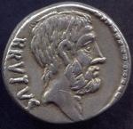 D/ BRUTO (54 a.C.). Ar Denarius (3,80 gr. - 18 mm.). D.\: BRVTVS. R.\: AHALA. Craw. 433. qSPL. Raro.