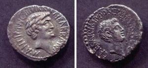 D/ MARCO ANTONIO (32 a.C.). Roma. AR Denarius (3,25 gr. - 19 mm.). D.\: profilo di Marco Antonio. R.\: profilo di Ottaviano. BMC 121. BB. R.