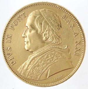Roma. Pio IX. 1846-1878. 100 Lire 1866 Anno XXI. Au. Gig. 257.