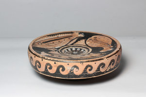 R/  Campanian red-figure fish-plate. Decorated with two seabream, a torpedo fish and two cockles. 4th century BC. H. 6,5 cm, Ø 19,5 cm.