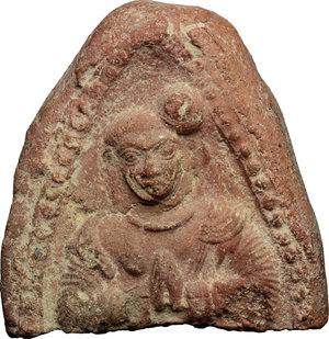D/  Fragment of a terracotta tsa tsa (votive tablet) with praying figure. 62 x 61 mm.