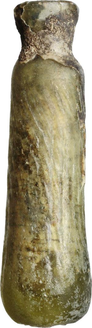D/  Late roman glass alabatron, blown into a mould. 3th-6th century AD. H. 8 cm.