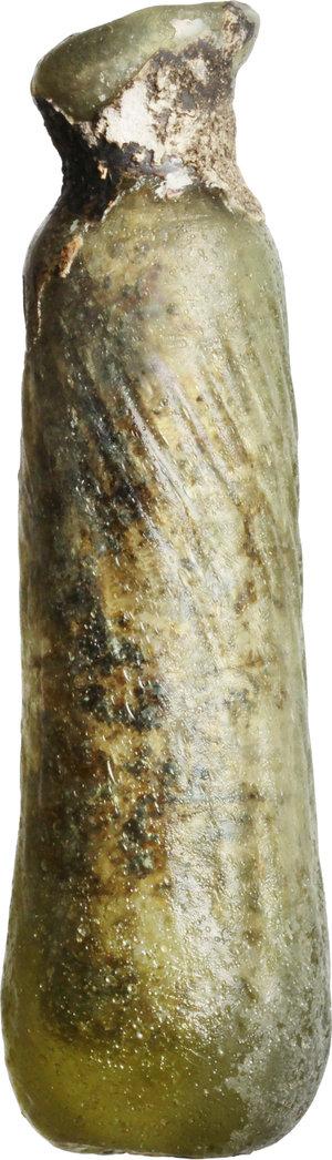 R/  Late roman glass alabatron, blown into a mould. 3th-6th century AD. H. 8 cm.
