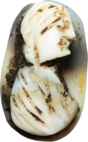D/  Head of woman resembling Aquilia Severa. Sardonyx Cameo, with black and white layers. Roman Period, 200-250 AD. 12 mm.