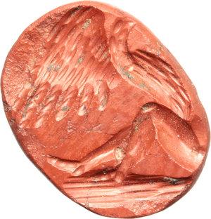 Jasper intaglio with Leda and the Swan.  Roman period, 1st-3rd century AD.  12 x 9 mm.