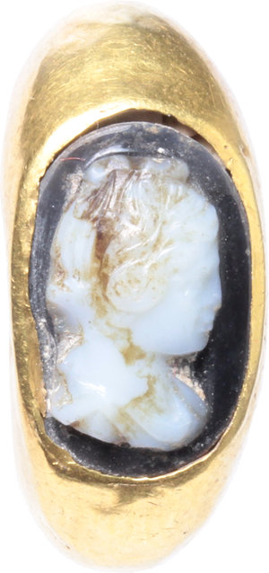 D/  Gold ring, the bezel with cameo depicting young lady. Roman period, 1st-2nd century AD. 24 mm. 4.4 g.