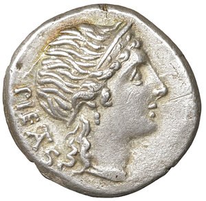 D/ M. HERENNIUS. Denarius (108-107 BC). Rome. 3.78 gr. -  17 mm. O:\ PIETAS. Diademed head of Pietas right. R:\ M HERENNI. One of the Catanaean brothers, Amphinomous or Anapias, advancing right and carrying his father on his shoulder; O to right. Crawford 308/1b. Ex FORVM Ancient Coins (sold 2008). XF+