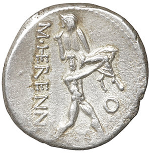 R/ M. HERENNIUS. Denarius (108-107 BC). Rome. 3.78 gr. -  17 mm. O:\ PIETAS. Diademed head of Pietas right. R:\ M HERENNI. One of the Catanaean brothers, Amphinomous or Anapias, advancing right and carrying his father on his shoulder; O to right. Crawford 308/1b. Ex FORVM Ancient Coins (sold 2008). XF+