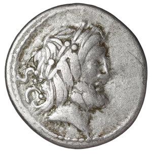 D/ L Procilius Denarius. 80 BC. 3.69 gr. - 18.4 mm. O:\ Bust of Jupiter right, SC behind. R:\ L PROCILI F, Juno Sospita advancing right with sheild, spear aloft and serpent before. Syd 771, Cr379/1. procilia1. No.1000. Numismatic and historical notes: Consuls Lucius Cornelius Sulla, Quintus Caecilius Metellus Pius; in 80 BC Pompeii becomes Roman city