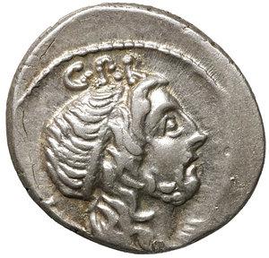D/ Cornelia. Cn. Lentulus. 76-75 BC. AR Denarius. Spanish(?) mint. 3.95 gr. – 19.1 mm. O:\ Diademed and draped bust of Genius Populi Romani right; sceptre over shoulder; G•P•R above. R:\ Sceptre with wreath, globe, and rudder; EX-S•C across fields, CN•LEN•Q below. Crawford 393/1a; RSC Cornelia 54. XF