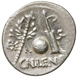 R/ Cornelia. Cn. Lentulus. 76-75 BC. AR Denarius. Spanish(?) mint. 3.95 gr. – 19.1 mm. O:\ Diademed and draped bust of Genius Populi Romani right; sceptre over shoulder; G•P•R above. R:\ Sceptre with wreath, globe, and rudder; EX-S•C across fields, CN•LEN•Q below. Crawford 393/1a; RSC Cornelia 54. XF