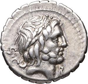 D/ Quintus Antonius Balbus. AR Denarius, 83-82 BC.O:\ Laureate bust of Jupiter right; S•C behind. R:\ Victory driving quadriga right; control letter below; Q•ANTO•BALB PR in exergue. 4.00 gr.-19.13 mm. Crawford 364/1c; Sydenham 742a. XF