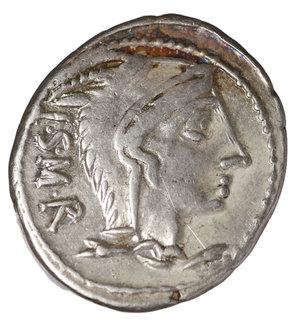 D/ L. Thorius Balbus. 105 BC. AR Denarius. 20,8 mm, 3.85 gr. 9h). Rome mint. O:\ I.S.M.R. Head at right of Juno Sospita, wearing goat-skin headdress. R:\ L.THORIVS BALBVS in two lines. Bull charging right; X above. Cr. 316/1; Syd.598. aXF