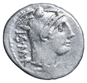 D/ L. Thorius Balbus. Rome. 105 BC. Denarius. 4.0 gr. – 20.4 mm. O:\ ISMR abbreviated legend behind head of Juno Sospita right, wearing goat-skin headdress. R:\ Bull charging right; L THORIVS BALBVS legend in two lines in exergue, control letter A to V above. Crawford 316/1; Sydenham 598; Thoria 1; Sear 192. VF+