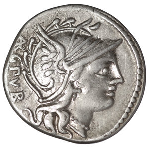D/ L. Sentius. AR Denarius. 101 BC. 3,85 gr. - 20,3 mm. O:\ Head of Roma right; ARG PVB. R:\ Jupiter in quadriga right; L SENTI CF, H above. Cr325/1a. Albert 1130. VF/EF. SCARCE