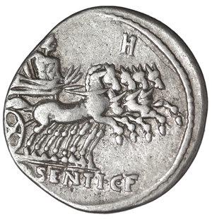 R/ L. Sentius. AR Denarius. 101 BC. 3,85 gr. - 20,3 mm. O:\ Head of Roma right; ARG PVB. R:\ Jupiter in quadriga right; L SENTI CF, H above. Cr325/1a. Albert 1130. VF/EF. SCARCE