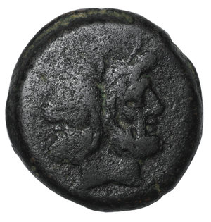 D/ Matienus. Ca. 179-170 B.C. AS. 35.1 mm, 40.58 g, 6 h. O:\ Uncial standard. Rome mint. Laureate head of bearded Janus; I above. R:\ ROMA, prow of galley right; I to right, MAT monogram above. Crawford 162/3; Sydenham 321a. VF+. Ex RBW collection
