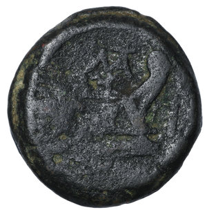 R/ Matienus. Ca. 179-170 B.C. AS. 35.1 mm, 40.58 g, 6 h. O:\ Uncial standard. Rome mint. Laureate head of bearded Janus; I above. R:\ ROMA, prow of galley right; I to right, MAT monogram above. Crawford 162/3; Sydenham 321a. VF+. Ex RBW collection