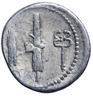 R/ Gens Norbana. C. NORBANUS 83 BC. AR DENARIUS. 3.8 gr. – 19.39 mm. O:\ C NORBANVS below, diademed head of Venus right; CLI behind. R:\ Corn ear, fasces and caduceus. Syd 739, Cr357/1b. Rare. VF/EF. The reverse type is probably an allusion to the moneyer's father and the part he played in Sicily during the Social war,when he raised troops, organised a fleet, and provisioned the town of Rhegium.