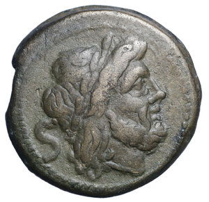 D/ Anonimous sextantal series. AE Semis, after 211 BC. Obv. Laureate head of Saturn right; behind, S. Rev. Prow right; above, S; below, ROMA. Cr. 56/3. AE. g. 17.51 mm. 28.00 Excellent style, brown tone. Good VF+. Traces of double striking on reverse.